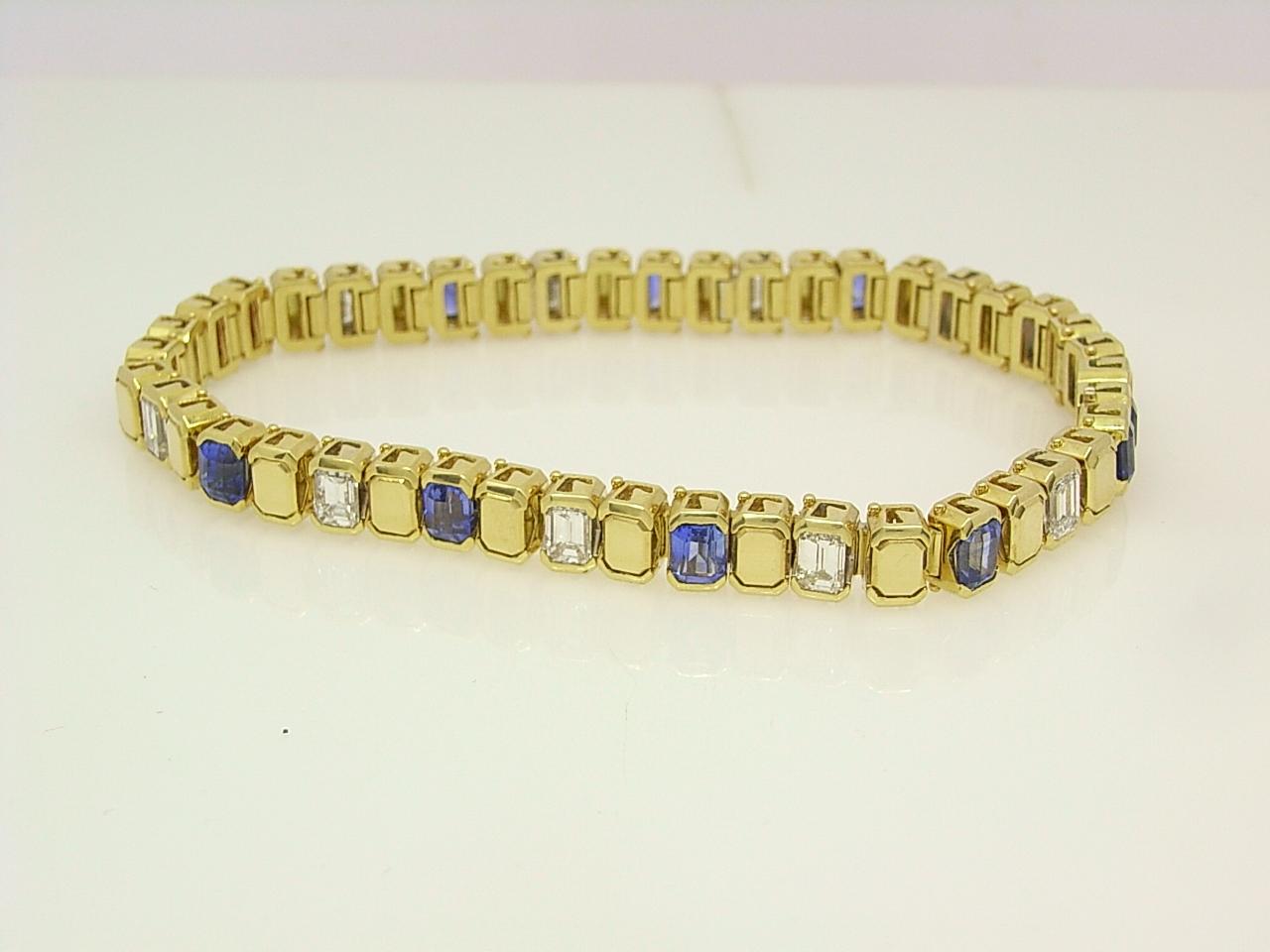 custom made sapphire emerald cut diamond 18 ct gold bracelet
