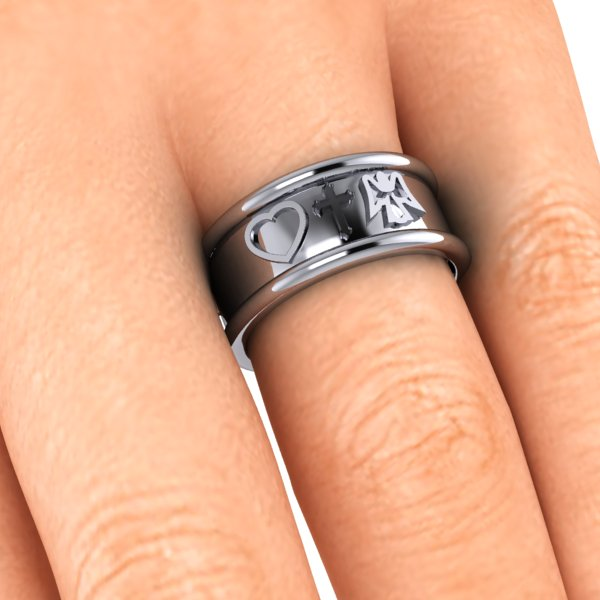band ring inlaid engraved with symbols of your choice lucky charms clubs