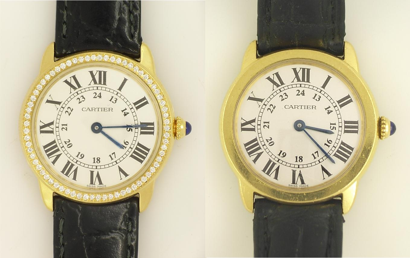 diamonds set in watch before & after