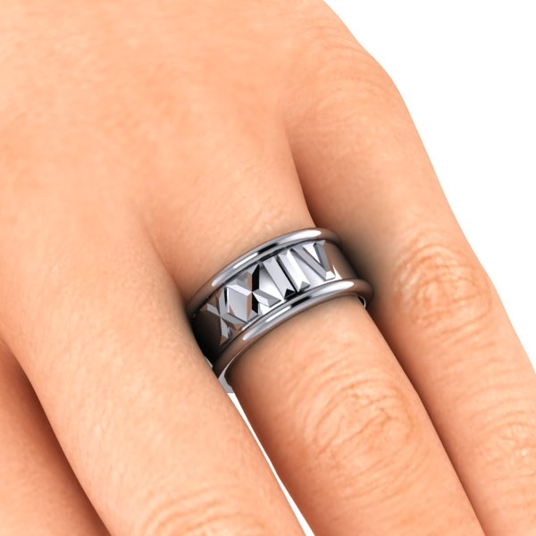 custom made CAD roman numeral symbol band insert