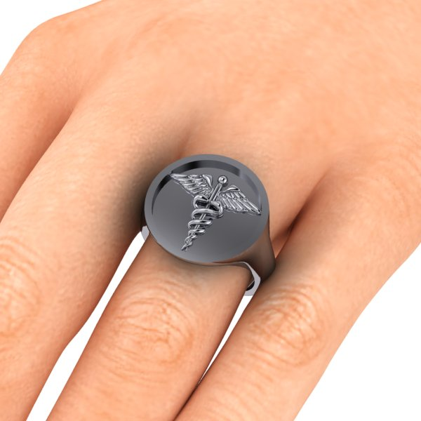 signet ring engraved inlaid with symbol of you choice
