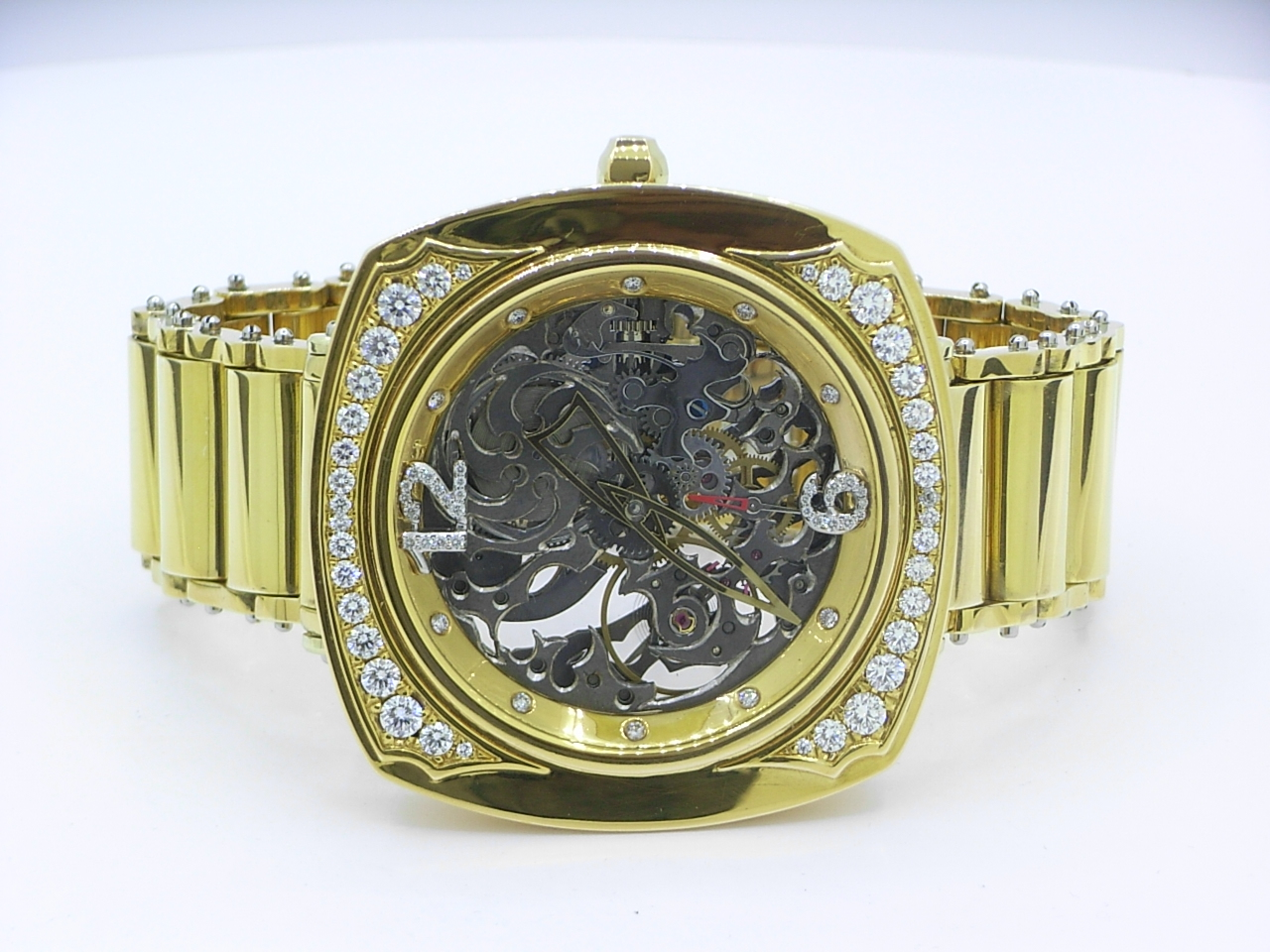 custom made watch solid gold diamonds skeletonised mechanical