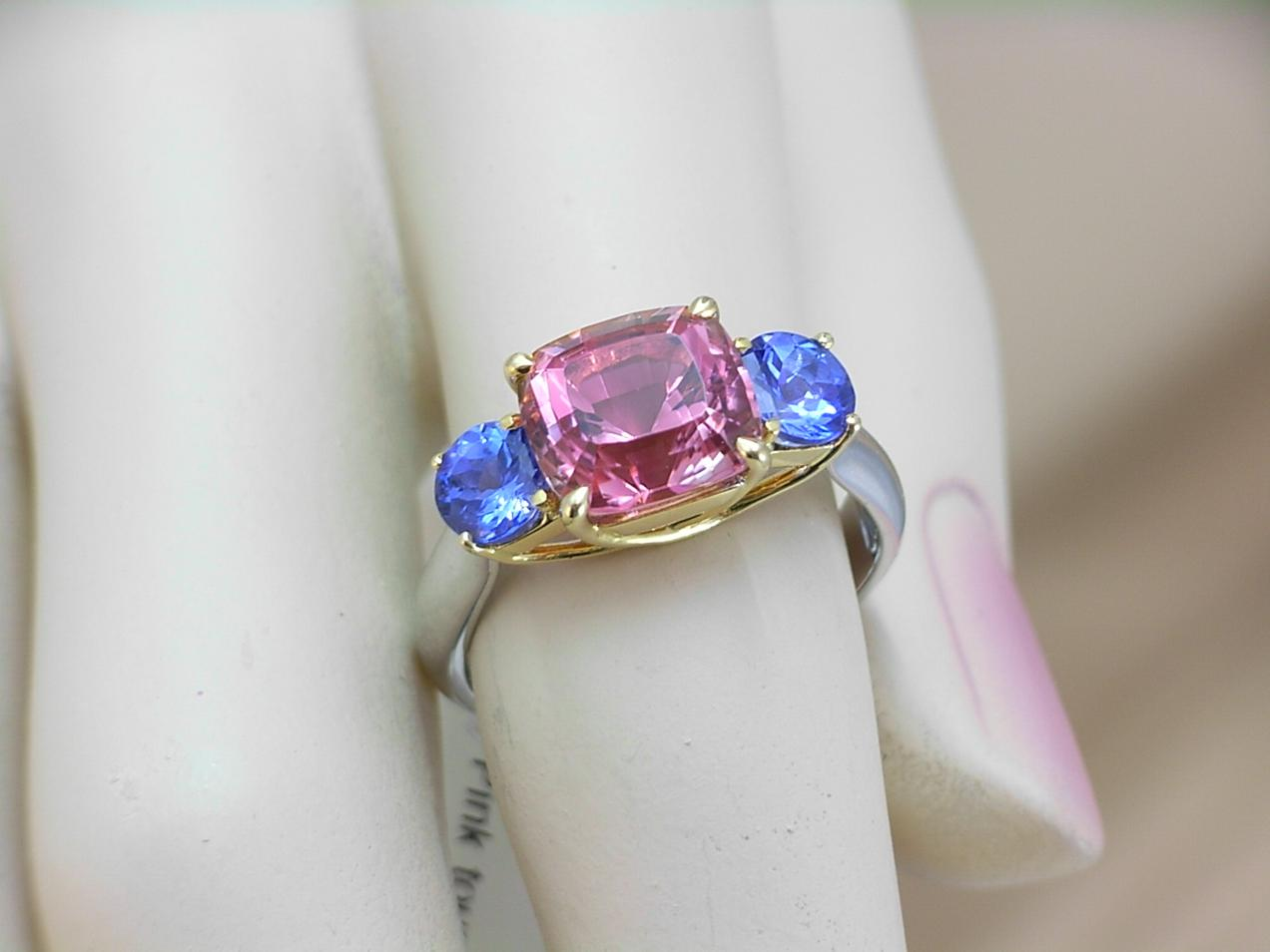Tanzanite tourmaline trilogy ring