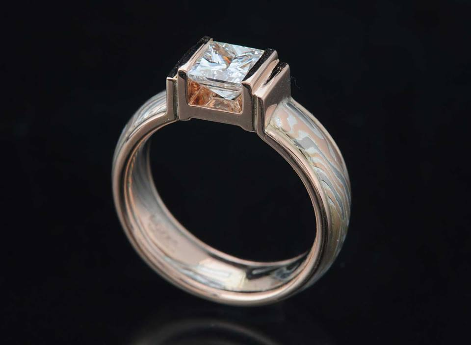 unique mokume gane wood grain princess cut engagement ring