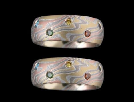 unique mokume wood grain gold & coloured gem rings