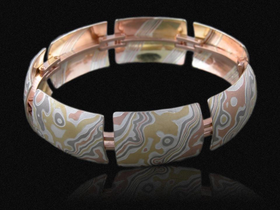 wood grain metal bracelet