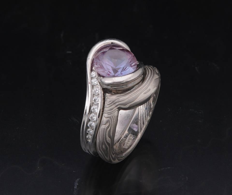mokume gane fitted wedding ring