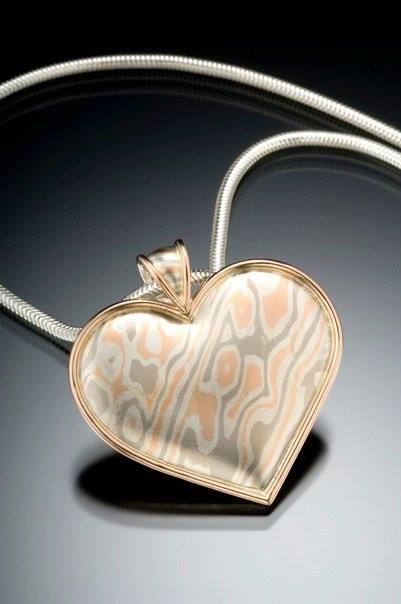 unique mokume wood grain heart