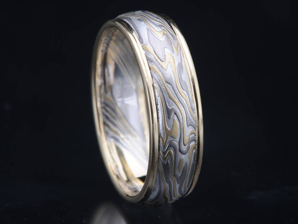 mokume wood grain metal band gold edges