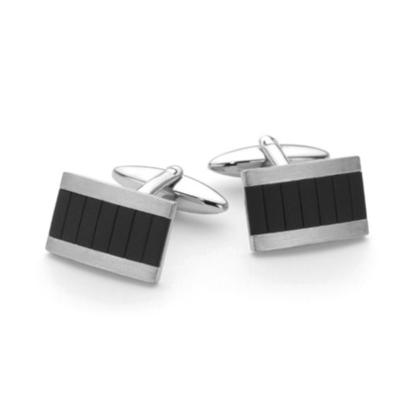 G31108 - Stainless Steel & Black IP Cuff links
