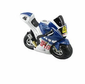 Blue and white racer motorcycle money box.