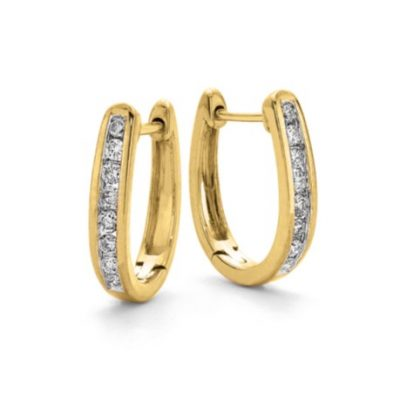 "Yellow Gold ""U"" Shaped Huggie Earrings"