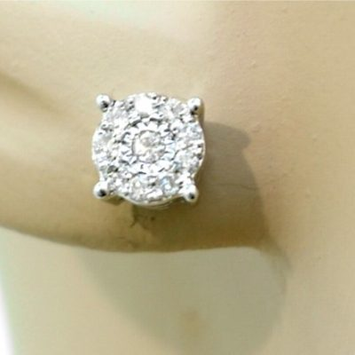 White Gold Illusion Set Diamond Stud Earrings