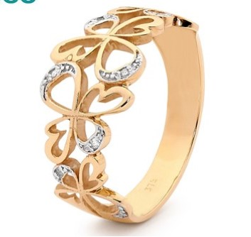 R11417 - Gold and Diamond Angel Ring