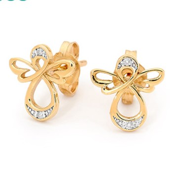 G31128 - Gold and Diamond Stud Earrings - Angel Design