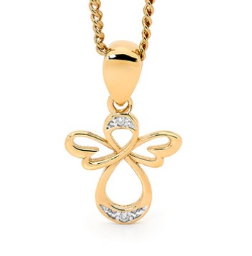 G31131 - Gold and Diamond Pendant - Angel Design