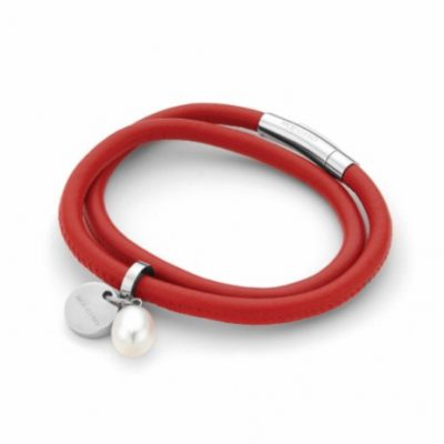P1207 - Red Leather and Pearl Bracelet