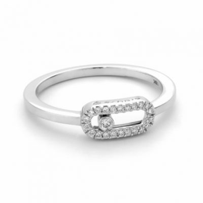 white gold micro pave Diamond set ring