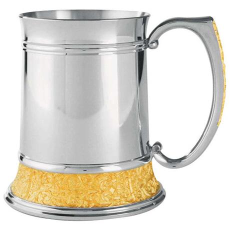 pewter & gold tankard
