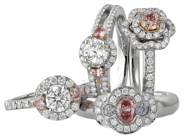 pink diamond halo set