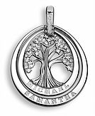 family tree drop pendant with diamonds