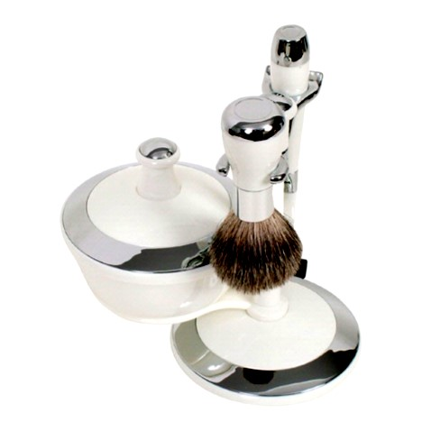 G31973 White Chrome Shaving Set