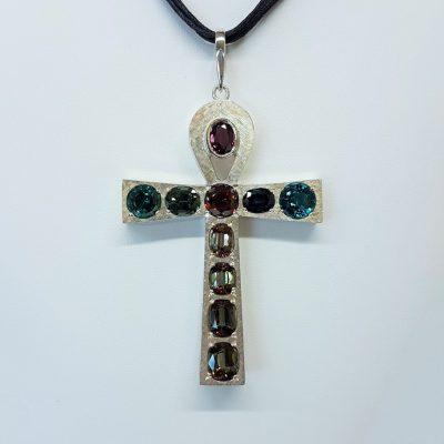 Gem-Set Ankh Cross Pendant